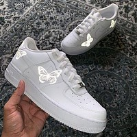 Onewel Nike Air Force 1 Low Print Women and Men casual cushioning shoes Silver butterfly Reflective Luminous-1