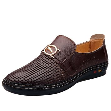 2017 Spring/Summer New Men Leather Shoes Fashion Comfort Loafers Shoes For Men Designer Shoes Casual Breathable Mens Shoes