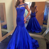 Open Back Mermaid Scoop Sleeve Satin Long Prom Dresses