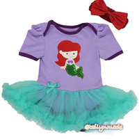 Newborn Baby Girl Mermaid inspired Onesuit dress set