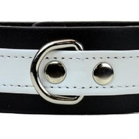 """White on Black Strip w/ D-Ring Leather Wristband Bracelet Cuff 1-1/4"""" Wide"""