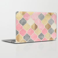 Silver Grey, Soft Pink, Wood & Gold Moroccan Pattern Laptop & iPad Skin by Micklyn