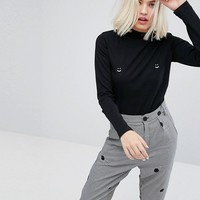 Lazy Oaf Long Sleeve Fitted T-Shirt With Happy Print at asos.com