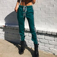 Women Retro Fashion Multicolor Checkerboard Tartan Stitching Leisure Pants Trousers Sweatpants