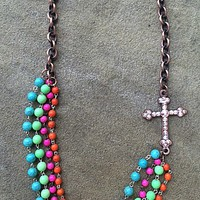 AB Stones on Copper Cross on Pink, Lime, Orange and Turquoise Bead Necklace
