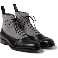 Grenson - Foot The Coacher Suede and Leather Brogue Boots | MR PORTER