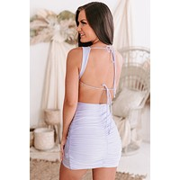 Mona Ruched Open Back Bodycon Dress (Lavender)