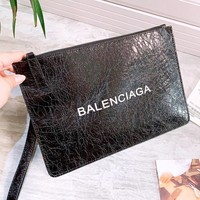 Balenciaga New fashion letter print couple clutch bag handbag envelope bag Black
