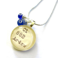 Buddhas Blue Tears Dewey Decimal Card Catalog with Blue Glass Teardrop and Sterling Silver Chain Necklace
