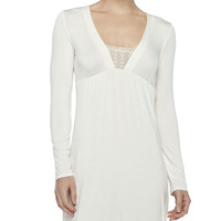 Women's Studio Long-Sleeve Short Gown, Winter White - La Perla - Winter white
