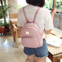 Women Leather Mini Backpack Ladies Leisure Fashion Travel Shoulders Package Strap Schoolbag Good Quality College Student Satchel