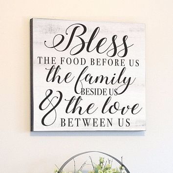 Bless The Food Before Us, White Rustic Canvas Art, 24x24