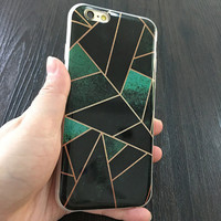 2017 Black And Green Geometric Design Phone Case For iPhone 7 7Plus 6 6s Plus 5 5s SE