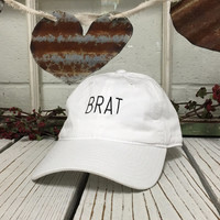 Vintage BRAT Baseball Cap Low Profile Dad Hats Baseball Hat Embroidery White
