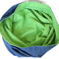 Childrens Denim Toy Bag Green Flannel Extra-Large Bag Home School Travel Laundry Tote--US Shipping Included
