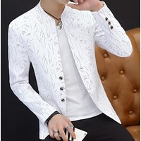 Mens Slim Round Stand Collar Pattern Blazer
