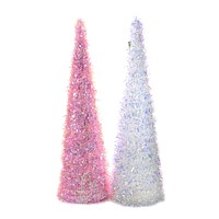 Easter Iridescent Cone Trees Large Birthday Shiny - DF0914 PINK