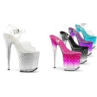 "Stardust 808T Tinted Rhinestone Platform Shoes Clear Upper 8"" Heel"