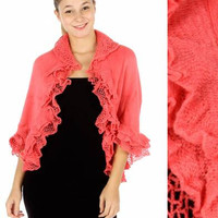 CHRISTMAS GIFT for HER Women's Cardigans Women's Sweater Ruffles crochet knit cardigan Salmon