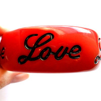 Vintage Red Love Bangle Chunky Bold Statement Valentines Day 1980s Style Inscribed Bracelet Romantic Gift Lucite Acrylic Plastic