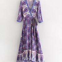 Women's Holiday Beach Dress Vintage Printed Lace Dress