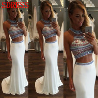 Hot Sale Two Pieces White Prom Dress Beautiful Beaded White Mermaid Prom Dresses 2016 Cheap Stain Long Evening Graduation Dress