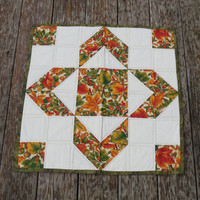 Fall Themed, Quilted Table Topper, Patchwork Quilted Table Topper