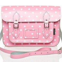 Pink and White Polka Dot Leather Satchel