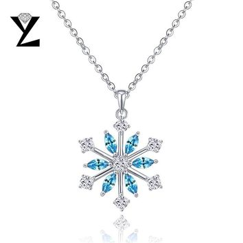 YL Snowflake Pendants 925 Sterling Silver Necklaces for Women Fine Jewelry Christmas Gift Wedding Engagement Best Friends Gift