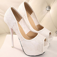 Lace Open Toe Platform Stiletto Heel Pumps