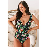 Catching Rays Ruffle Strap Floral One-Piece Swimsuit (Black Floral)