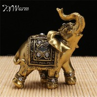 KiWarm Feng Shui Elegant Elephant Trunk Statue Lucky Wealth Figurine Gift and Home Decoration