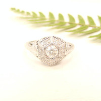 Art Deco Diamond Engagement Ring, Old Mine Cut Diamonds, Intricate Filigree and Engraving, Flower Blossoms, 18K White Gold, Circa 1920s