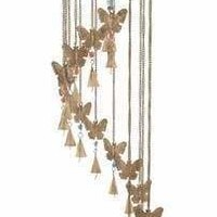 Benzara Chic Metal Glass Windchime For Luring Ambiance