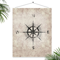 Nautical compass art print Cottage beach house decor Watercolor Compass Poster Antique old Vintage Map direction Inspirational Print Science