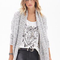 FOREVER 21 Heathered Open-Front Cardigan Grey/Cream