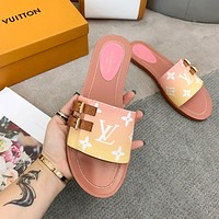LV Louis Vuitton Gradient Printed Letters Ladies Sandals Slippers Shoes Yellow