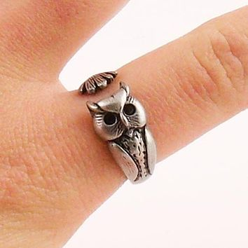 Animal Wrap Ring - Owl - White Bronze - Adjustable Ring - keja jewelry