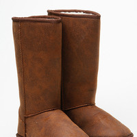 Qupid Faux Suede Cognac Distressed Boots