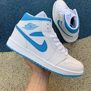 Air Jordan 1 Mid AJ1 white and blue stitching mid-top trend cushioning sports casual sneakers shoes