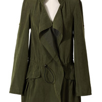 Khaki Draped Trench Coat
