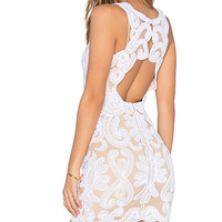 x REVOLVE Embroidered Mini Dress in Ivory & Nude