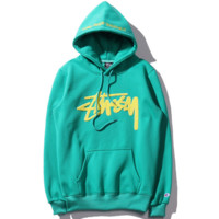 """Stussy""Fashion Retro embroidery letters hooded thick sweater men and women couple models Green"