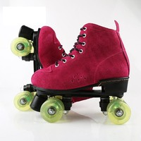 Genuine Leather Double Row Skates Adult Skates Flashing Recreational Skates For Women 100 kg Bearing