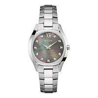 Bulova Ladies Diamonds Maiden Lane - Gray Mother Pearl Dial - Silver Tone Case