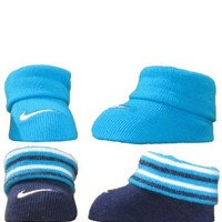 Nike Unisex 0-6 Months 2-Pair Newborn Infant Booties (Blue)