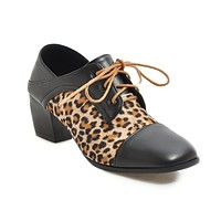 Lace Up Leopard Print Thick Heel Middle Heels Women Shoes