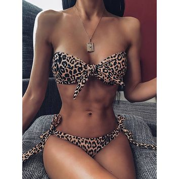 Leopard Knot Bandeau With Tie Side Bikini