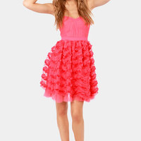 Angel on Earth Strapless Coral Pink Dress