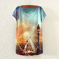 White Short Sleeve Ferris Wheel Print T-Shirt